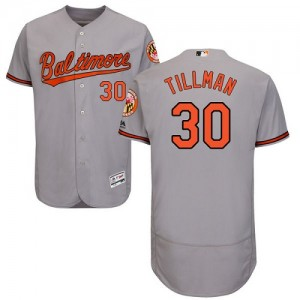 Men's Majestic Baltimore Orioles Chris Tillman Authentic Grey Flexbase Collection Jersey