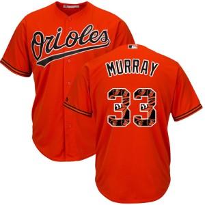Men's Majestic Baltimore Orioles Eddie Murray Authentic Orange Team Logo Fashion Cool Base Jersey