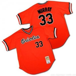 Men's Mitchell and Ness Baltimore Orioles Eddie Murray Replica Orange Throwback Jersey