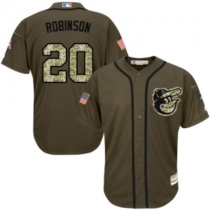 Men's Majestic Baltimore Orioles Frank Robinson Authentic Green Salute to Service Jersey