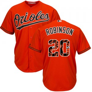 Men's Majestic Baltimore Orioles Frank Robinson Authentic Orange Team Logo Fashion Cool Base Jersey