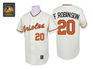 Men's Mitchell and Ness Baltimore Orioles Frank Robinson Replica White Throwback Jersey