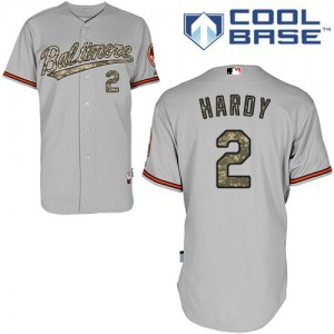 Men's Majestic Baltimore Orioles J.J. Hardy Authentic Grey USMC Cool Base Jersey
