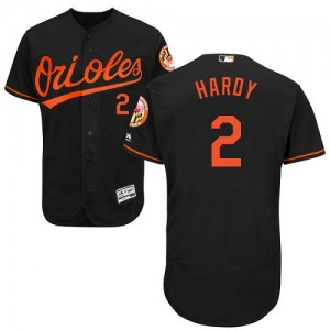 Men's Majestic Baltimore Orioles J.J. Hardy Authentic Black Flexbase Collection Jersey