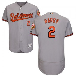 Men's Majestic Baltimore Orioles J.J. Hardy Authentic Grey Flexbase Collection Jersey