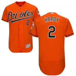 Men's Majestic Baltimore Orioles J.J. Hardy Authentic Orange Flexbase Collection Jersey