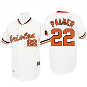 Men's Mitchell and Ness Baltimore Orioles Jim Palmer Replica White 1970 Throwback Jersey
