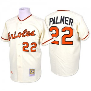 Men's Mitchell and Ness Baltimore Orioles Jim Palmer Replica Cream Throwback Jersey