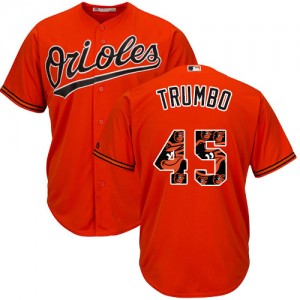 Men's Majestic Baltimore Orioles Mark Trumbo Authentic Orange Team Logo Fashion Cool Base Jersey