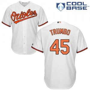 Men's Majestic Baltimore Orioles Mark Trumbo Authentic White Home Cool Base Jersey