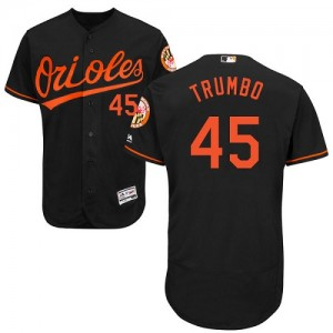 Men's Majestic Baltimore Orioles Mark Trumbo Authentic Black Flexbase Collection Jersey