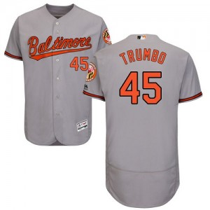 Men's Majestic Baltimore Orioles Mark Trumbo Authentic Grey Flexbase Collection Jersey