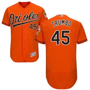 Men's Majestic Baltimore Orioles Mark Trumbo Authentic Orange Flexbase Collection Jersey