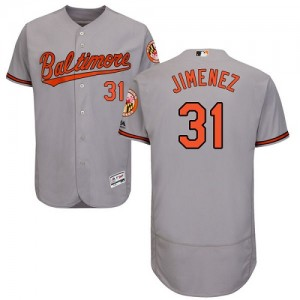 Men's Majestic Baltimore Orioles Ubaldo Jimenez Authentic Grey Flexbase Collection Jersey
