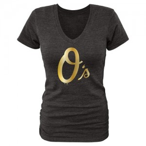 Women's Baltimore Orioles Gold Fanatics Apparel Collection V-Neck Tri-Blend T-Shirt - Black