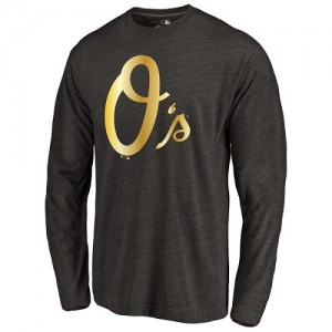 Men's Baltimore Orioles Gold Collection Long Sleeve Tri-Blend T-Shirt - Black