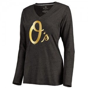 Women's Baltimore Orioles Gold Collection Long Sleeve V-Neck Tri-Blend T-Shirt - Black