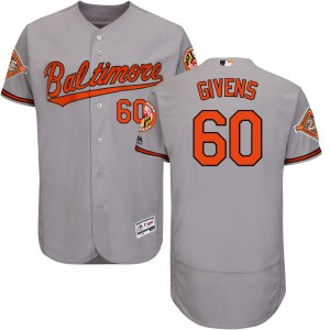 Men's Majestic Baltimore Orioles Mychal Givens Replica Gray Road 2017 Flex Base Jersey with Commemorative Patch