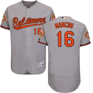 Men's Majestic Baltimore Orioles Trey Mancini Replica Gray Road 2017 Flex Base Jersey with Commemorative Patch