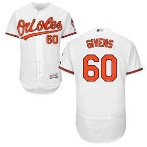 Men's Majestic Baltimore Orioles Mychal Givens Replica White Home Flex Base Collection Jersey