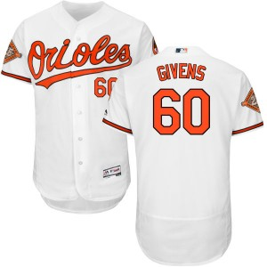 Men's Majestic Baltimore Orioles Mychal Givens Replica White Home 2017 Flex Base Jersey with Commemorative Patch