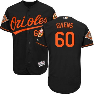 Men's Majestic Baltimore Orioles Mychal Givens Replica Black Alternate 2017 Flex Base Jersey with Commemorative Patch