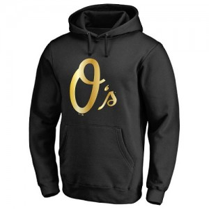 Men's Baltimore Orioles Gold Collection Pullover Hoodie - Black