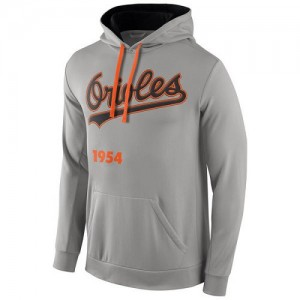 Men's Nike Baltimore Orioles Gray Cooperstown Performance Pullover Hoodie -