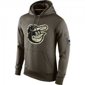 Men's Nike Baltimore Orioles Olive Salute To Service KO Performance Hoodie