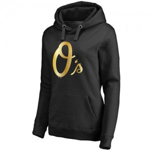 Women's Baltimore Orioles Gold Collection Pullover Hoodie - Black