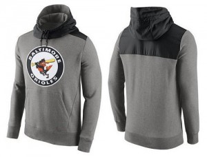 Men's Nike Baltimore Orioles Gray Cooperstown Collection Hybrid Pullover Hoodie