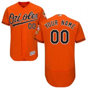 Men's Majestic Baltimore Orioles Custom Authentic Orange ized Flexbase Collection Jersey
