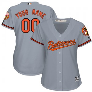 Women's Majestic Baltimore Orioles Custom Authentic Grey ized Road Cool Base Jersey