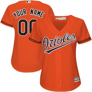Women's Majestic Baltimore Orioles Custom Authentic Orange ized Alternate Cool Base Jersey
