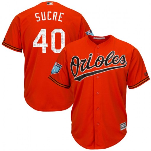 Youth Majestic Baltimore Orioles Jesus Sucre Authentic Orange Cool Base 2018 Spring Training Jersey