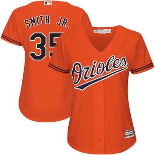 77f5b400ea3 Women s Majestic Baltimore Orioles Dwight Smith Jr. Replica Orange Cool Base  Alternate Jersey