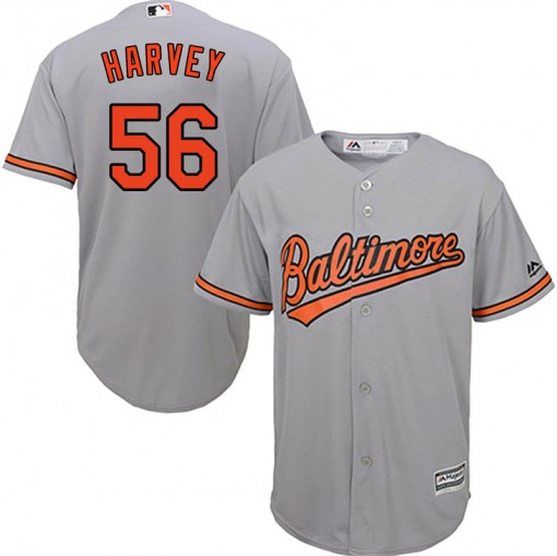 Youth Majestic Baltimore Orioles Hunter Harvey Replica Grey Cool Base Road Jersey