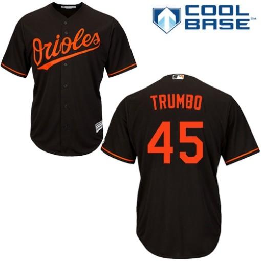 Men's Majestic Baltimore Orioles Mark Trumbo Authentic Black Alternate Cool Base Jersey