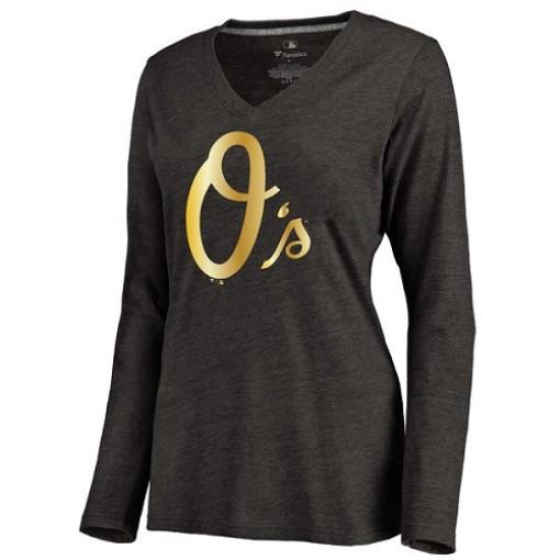 Women's Baltimore Orioles Gold Collection Long Sleeve V-Neck Tri-Blend T-Shirt - Black